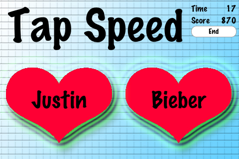 Screenshot Tap Speed Justin Bieber